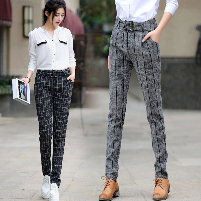 بناطيل الكاروهات: الصيحة الأكثر شيوعاً لموضة شتاء 2018 With-Belt-England-Style-Pants-Womens-Fall-Fashion-2015-Black-Grey-Plaid-Casual-Pantalon-Femme-Brand