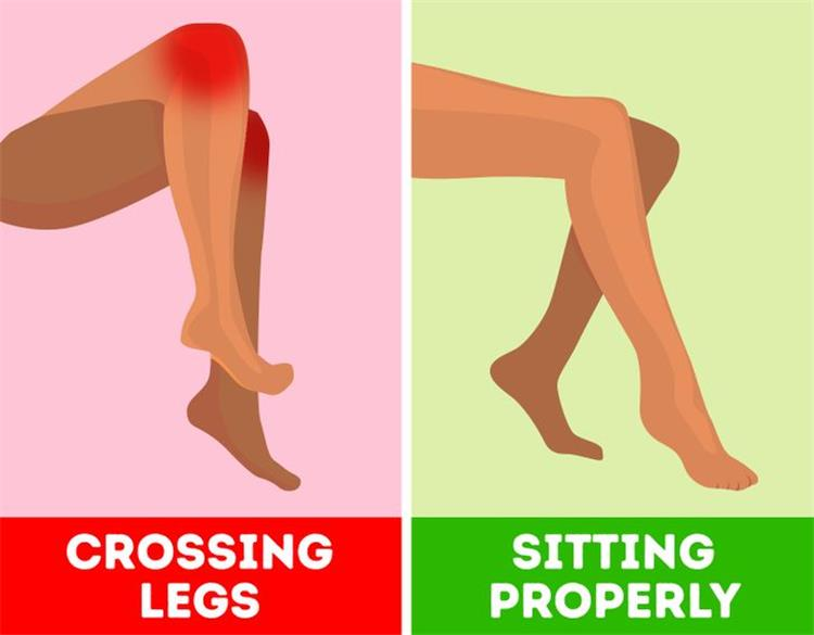 اضرار وضع قدم فوق قدم