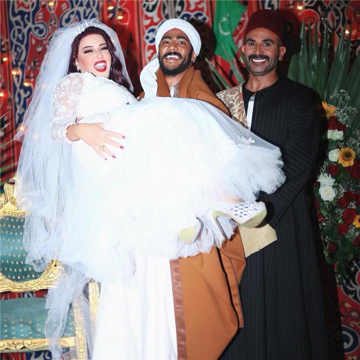 مشهد زفاف محمد رمضان وسمية الخشاب بمسلسل موسى بحضور أحمد سعد