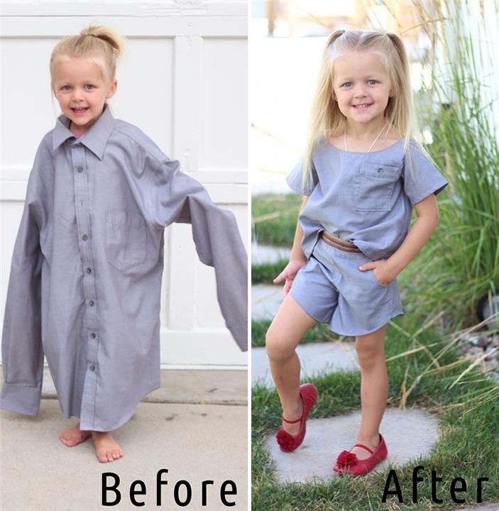 اعيدي تدوير ملابس زوجك القديمة وحوليها لفساتين انيقة لطفلتك