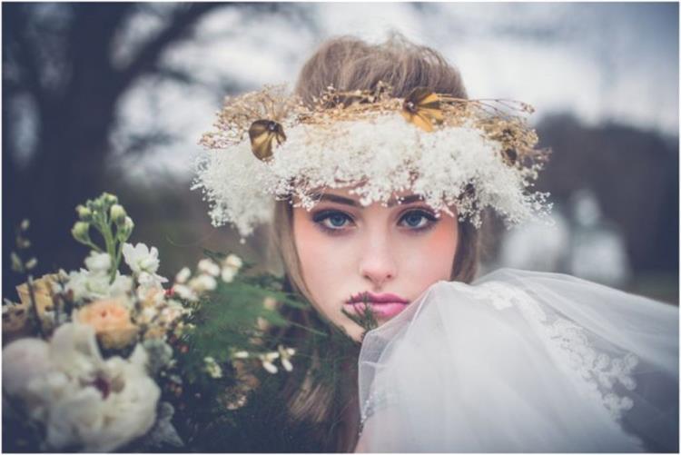 اكسسوارات الشعر الموضة لزفاف الشتاء