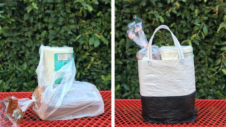 اصنعي حقيبة مشتريات من أكياس البلاستيك