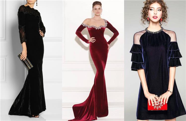 الفساتين القطيفة الأنسب لسهرة شتوية رائعة تصاميم ساحرة