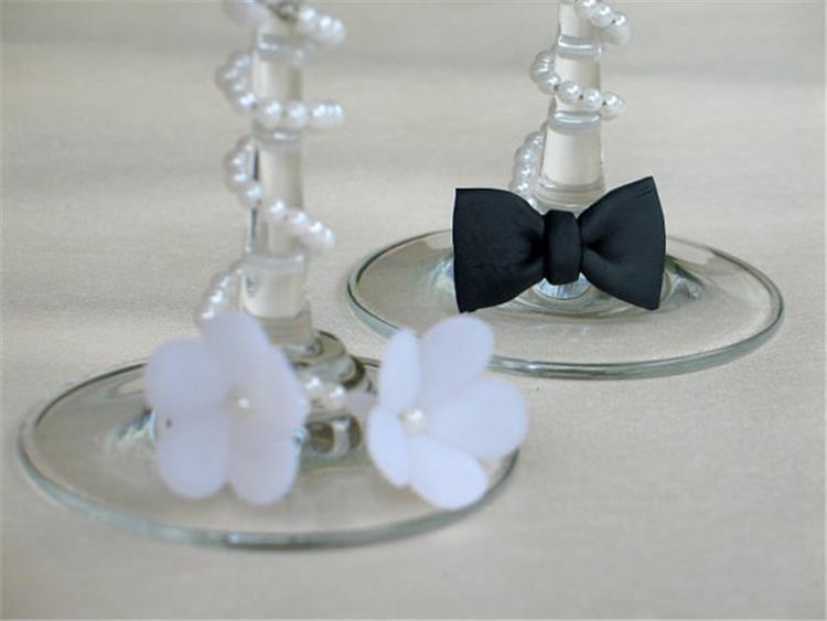 اشكال مميزة ومبتكرة لتزيين كاسات العروسين