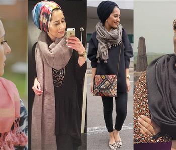 طرق ارتداء الاسكارف مع الحجاب